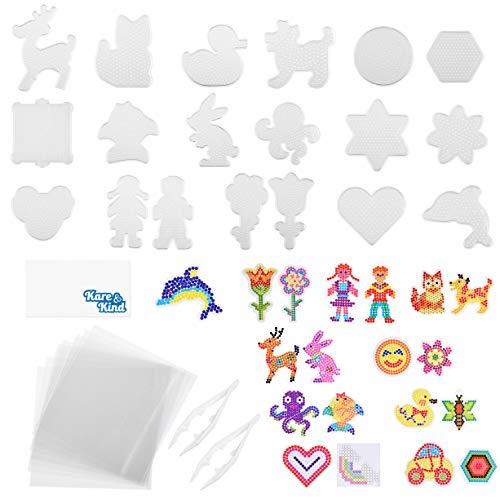 Kare & Kind Pegboard per Perline a Fusione - 19 pz - Include Anche Template Colorati in Cartone, Carta da Stiro Riutilizzabile e Pinzette - attività Fai-da-Te