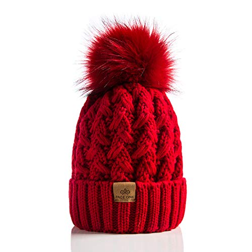 PAGE ONE Womens Winter Ribbed Beanie Crossed Cap Chunky Cable Knit Pompom Soft Warm Hat Red