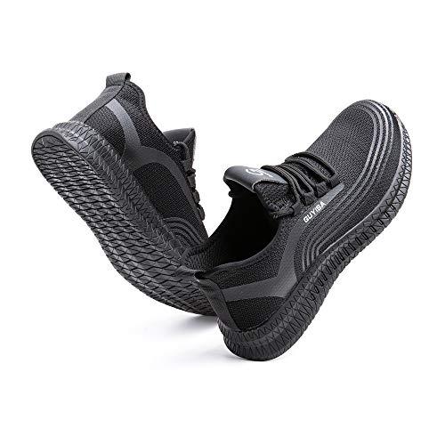 Zapatos de Seguridad Hombre Trabajo Zapatillas Deportivas de Mujer Puntera de Acero Ligeros Calzado de Industrial Construcción Botas Tácticas C-Negro EU44