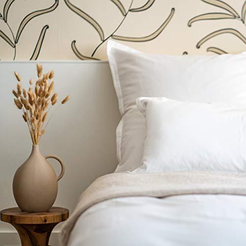 Amqua Mako Satin Bettwäsche Set 155x220cm + Kissenbezug 80x80cm, 100% zertifizierte ägyptischer Baumwolle (Zertifiziert), weiß