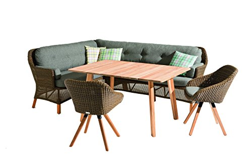 Niehoff Garden Nizza Dining Lounge, rechts, Viro Red Pine, Teak Massiv, Sunproof Basalt, 186 x 163 x 90 cm