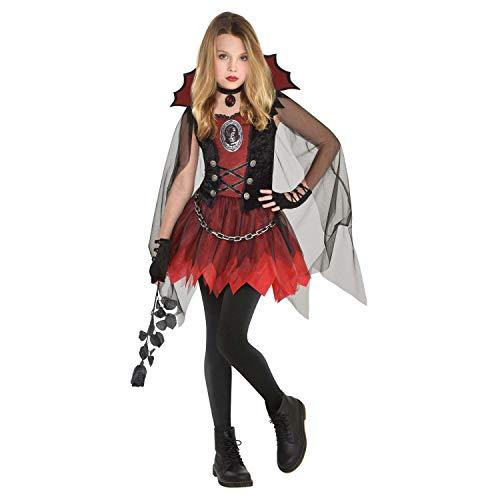 amscan 9905170 – Disfraz infantil de vampiro oscuro, vestido con cuello y capa, gótico, carnaval, fiesta temática, Halloween