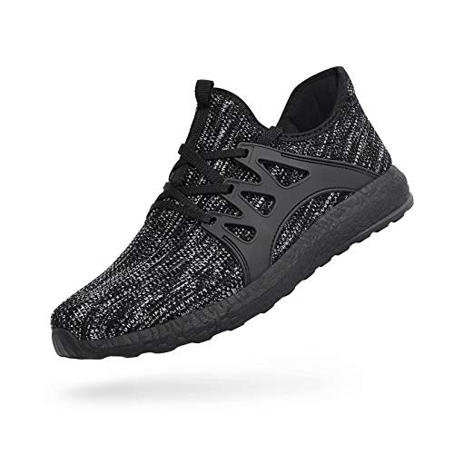 QANSI Mens Walking Shoes Lightweight Breathable Air Knitted Running Shoes for Boys Athletics Gym Workout Tennis Sneakers Gray/Black 9.5