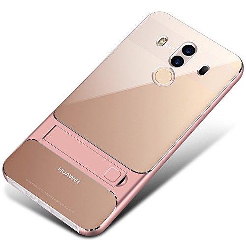 UBERANT Capa para Huawei Mate 10 Pro, leve fina 2 em 1, moldura de TPU macio transparente e policarbonato rígido com função de suporte, antiderrapante, à prova de choque, capa protetora para Huawei Mate 10 Pro 6 polegadas ouro rosa