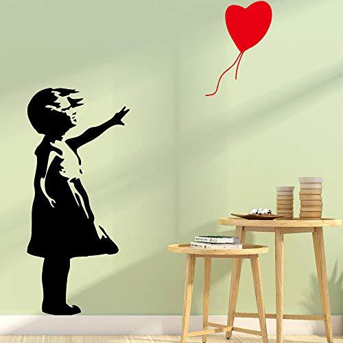 Klassische Vinyl Aufkleber Mädchen mit roten Luftballons Banken Wandaufkleber Wohnzimmer Dekoration Tapete Banken Schlafzimmer Wandaufkleber | Wandaufkleber |