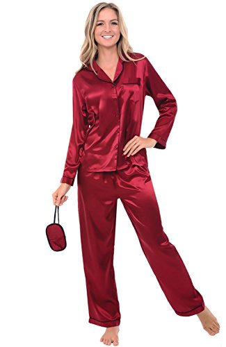 (Product) RED Women's Button Down Satin Pajama Set with Sleep Mask, Long Silky Pjs, Medium Burgundy with Black Piping (A0750BGPMD)
