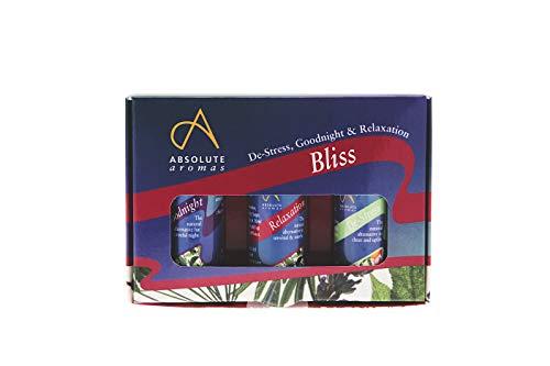 Absolute Aromas Juego de Mezclas de Aceites Esenciales Bliss - Paquete de Mezclas de Aromaterapia 3 x 10ml - De-Stress, Goodnight y Relaxation