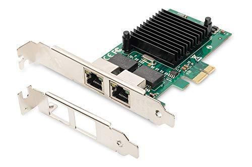 DIGITUS DN-10132 - Tarjeta de Red Gigabit PCIe (2 Puertos RJ45, chipset Intel 82575EB de 1 Gbit s, VLAN y Flow-Control)