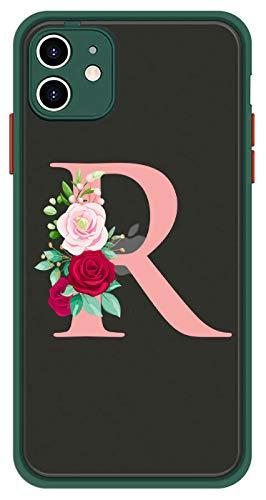 Mixroom - Cover Custodia per Apple iPhone 7 Bumper Protezione Fotocamera Retro Semitrasparente Bordo Verde in TPU Morbido con Lettera R Rosa