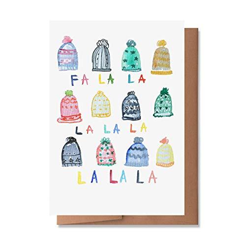 Wunderkid Fa La La Cute Card, Happy Holiday Winter Hats Cute New Year 2021 (1 Single Card, Blank inside)