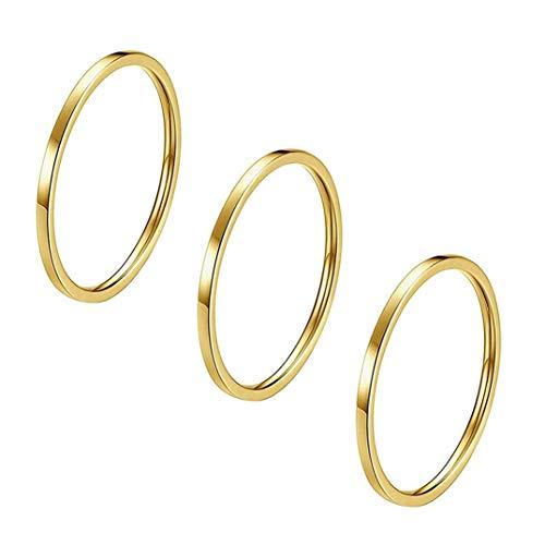 Jofff 3 Stück Paar Ring schlicht glänzendes Titan Stahl Ring Set Minimalistisch Schwanzring Knuckle Ring Fingergelenk Ring