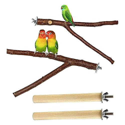 4 Piezas Palo Posadero Perchas para Loros Soporte para Pájaros Plataforma De Rama De Madera Jaula Accesorio para Pájaros Cacatúa Periquito Conure