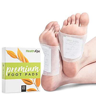 HealthApe Bamboo Vinegar Foot Pads - Sticky Foot Sleep Patches to Remove Impurities - Health and Beauty Foot Care Patches for Pain Relief with Purifying Charcoal - Box of 20 for a 10 Day Treatment by Healthape