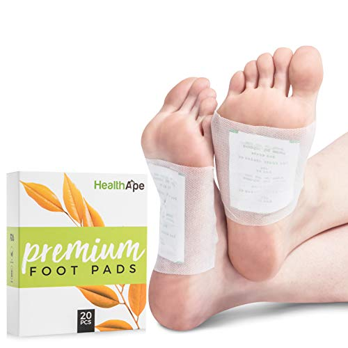 HealthApe Bamboo Vinegar Foot Pads - Sticky Foot Sleep Patches to Remove Impurities - Health and Beauty Foot Care Patches for Pain Relief with Purifying Charcoal - Box of 20 for a 10 Day Treatment