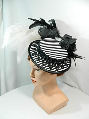 Bergère Damenhut schwarz weiß gestreift Streifen Sommerhut Sonnenhut Anlasshut Hütchen