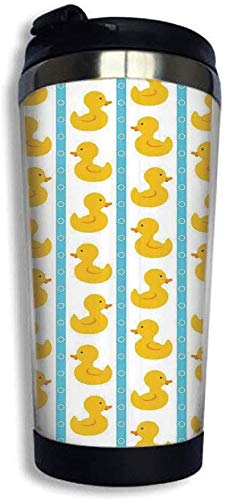 MQJJ tasse à café Insulated Double Wall ABS Travel Mug Yellow Duckies with Blue Stripes and Small Circles Baby Nursery Play Toys Pattern Topple-Proof, Leak-Proof Lid, 14 Ounces White