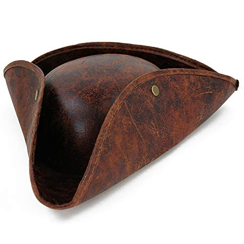 Skeleteen Faux Leather Pirate Hat - Brown Distressed Leather Colonial Style Tricorn Hat