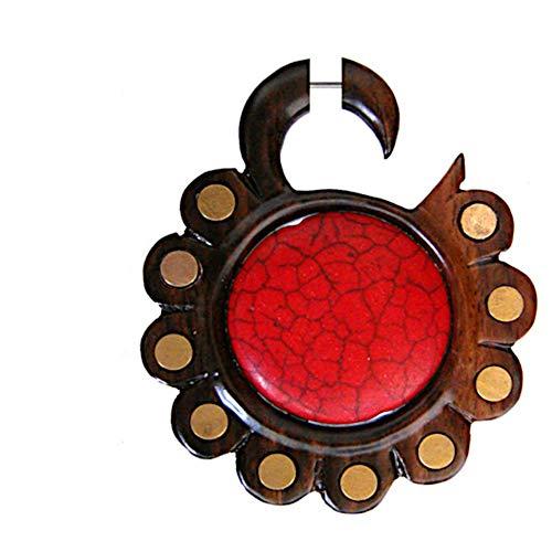 CHICNET Fake Incisión corporal Hook Lobe XL espiral de madera, marrón con acero inoxidable flor Brass círculos rojo