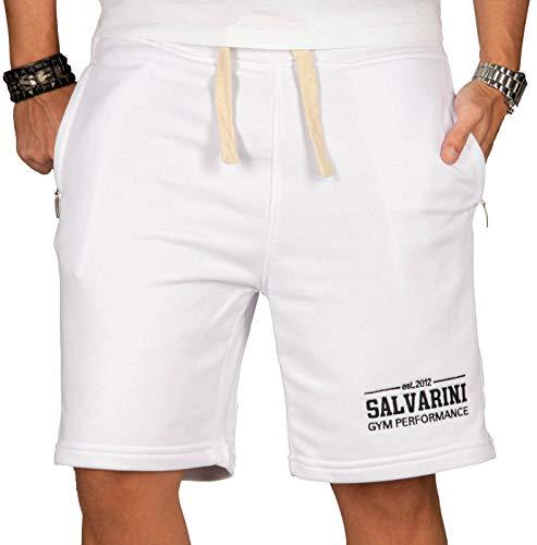 A. Salvarini Herren Sport Jogging Short Fitness Kurze Hose Trainingshose AS130 [AS-130-Weiss-Gr.5XL]