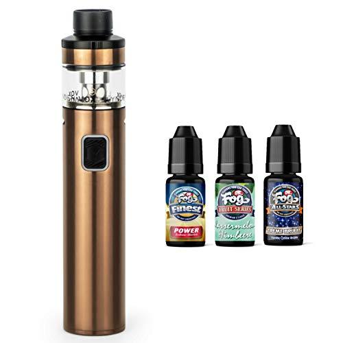 Lynden VOX Kit 50 Watt 3000 mAh Akku 4 ml Tank + 3 x 10 ml Premium-Labs Liquid (nikotinfrei) E-Zigaretten-Set E-Zigarette E-Shisha (kupfer)