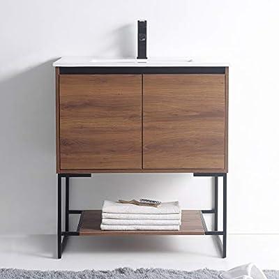 """Urbania Vanity 30"""" Wide -2 Door/shelf, Walnut Color, With Sink"""