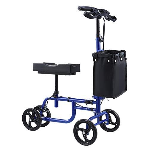 VONOYA Klapprad Kniescooter Knee Walker mit verstellbarem Lenker und Korb Knie-Walker-Roller Knie-Roller bis 135 kg (Blau)