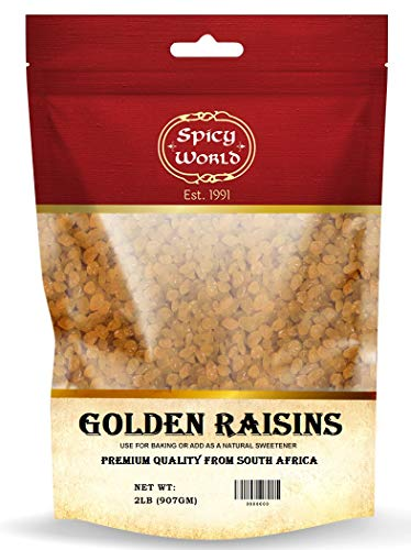 Golden Raisins 2 LB Bag - Premium Large Seedless Dried Sultanas from South Africa - No Added Sugar | by Spicy World