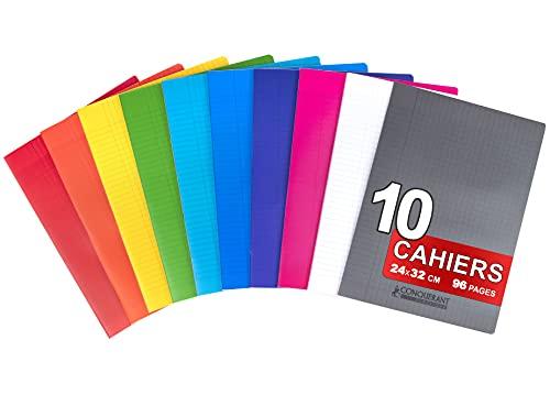 Conquérant 10 Cahiers Agrafés 24x32cm Grands Carreaux Seyès 96 Pages 90g