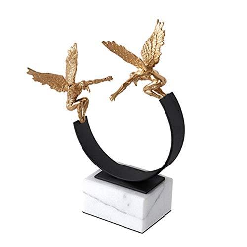 Fen Yun ángel Adornos de mármol, Hierro Figura Adornos, Conveniente for Villas, hoteles, Escritorio Decoraciones, 17 * 12 * 23cm