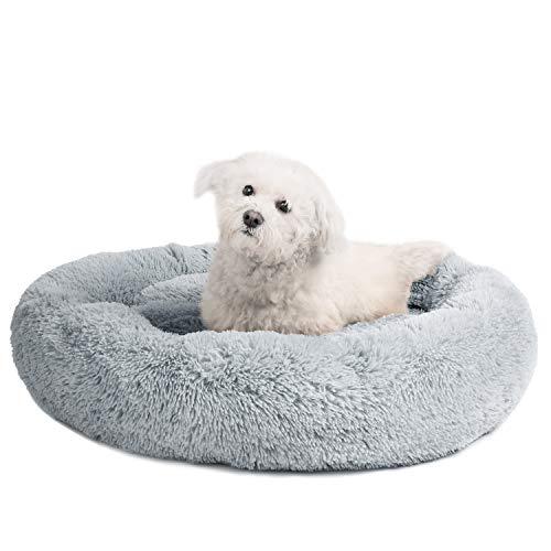 Veehoo Luxuriöses Kunstfell Erwärmen Hundebett, Sanft Tierbett für Klein, Mittelgroße, Grosse Hunde & Katze, Runden Katzenbett Waschbar, M, Grau
