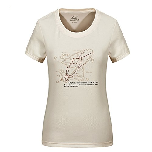 emansmoer Femme Col Rond Manches Courtes T-Shirt Casual Pêche Fitness Respirant Outdoor Sport Quick Dry Wicking Tee (Medium, Khaki)