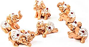 Set of 6 Gold Color Lucky Elephants Statues Feng Shui Figurine Home Decor Housewarming Birthday Congratulatory Gift US Seller