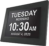 LZW Lifetime Americana Oggi Orologio Extra Grande Orologio Digitale Visione Alterata con Batteria di Backup E Molteplici Opzioni di Allarme, Mogano, Mogano, 8 Pollici,5