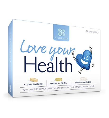 Love Your Health | Healthspan | 3 in 1 Complete Daily Supplement | 28 Day Supply | Multivitamin | Omega 3 Fish Oil | Probiotics | Sustainably Sourced