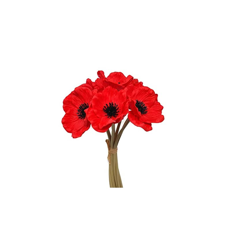 silk flower arrangements floral kingdom 10 inch real touch anemone poppy bouquet for artificial flower decor (pack of 7)