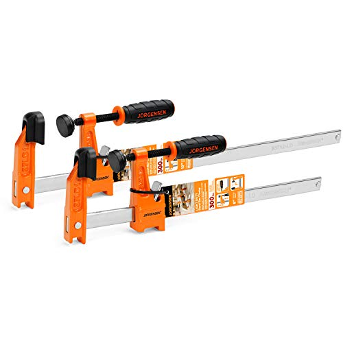 Jorgensen 2-Piece Steel Bar Clamp Set, Light Duty F-Clamp, 8-inch & 12-inch, 300 Lbs Load Limit