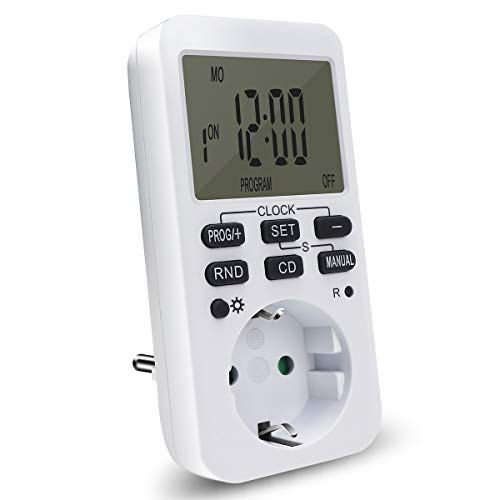 EXTRASTAR Digitale Elektronische Zeitschaltuhr Steckdose mit LCD-Display, Plug-In Schaltuhr mit 10 konfigurierbaren Programmen, Zufallsschaltung, 12/24 und Countdown Modus, 16A/3600W - Weiß