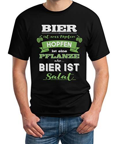 Bier ist aus Hopfen ist eine Pflanze Also Bier ist Salat Herren T-Shirt XXX-Large Schwarz