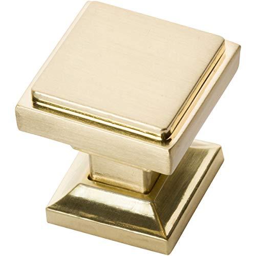 Southern Hills Satin Brass Square Cabinet Knobs - Pack of 5 -Brushed Brass Kitchen Pulls - Brushed Brass Cabinet Hardware - Cupboard Drawer Knobs SHKM002-BRS-5