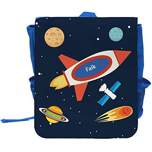 Kinder-Rucksack mit Namen Falk und schönem Weltraum-Motiv für Jungen