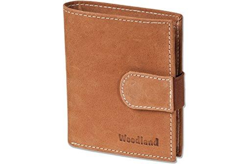 Woodland® Super-Kompakte Geldbörse mit XXL-Kreditkartentaschen für 18 Karten aus naturbelassenem Büffelleder in Cognac