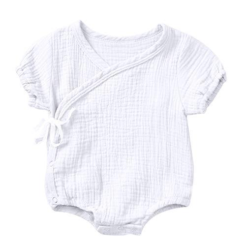 Haokaini Neugeborenes Baby Baumwolle Leinen Kimono Strampler, chinesische lässig Reine Trainingsanzug Pyjamas für Mädchen Jungen (Color : White, Size : 0-3m)
