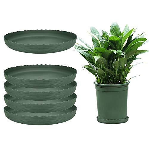 AFASOES 5pcs Plant Saucers Plastic Flower Pot Tray Large Round Planter Drip Tray Container Heavy Duty Garden Pot Bases 10inch Indoor Outdoor Plant Dish for Holding Water Drips/Soil, Dark Green