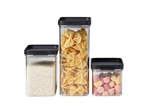 Mepal Vorratsdosen-Set Omnia rechteckig Schwarz – 700 ml, 1100 ml und 2000 ml - praktische Aufbewahrungsdosen für Lebensmittel – luftdichte Aufbewahrungsboxen geeignet für Küchenschrank und Regal