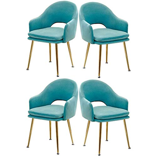 WYBW Silla de comedor para el hogar, silla de comedor, juego de 4 sillas decorativas, sillón, silla auxiliar, taburete de maquillaje, dormitorio de niña, sala de estar, cafetería, silla de ocio,Azul