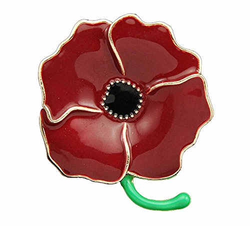 korpikus® Qualität Rot Emaille ' Poppy ' Brosche In Frei Organza-Geschenk-Tasche