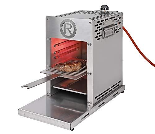 Rothenberger Industrial Roaster - Steakgrill - Hochtemperaturgrill - Oberhitzegrill inkl. Grillrost - Auffangschale - Batterien für vollautomatische Piezo-Impulszündung