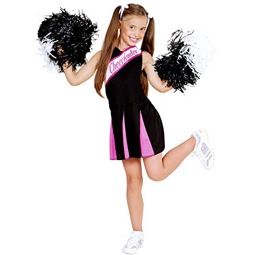 Widmann 02447 – Kinderkostüm, Cheerleader, Kleid, Pink-schwarz, Sport- und Fanwelt, College Girl, verschiedene Größen, Motto Party, Karneval