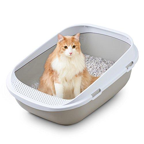 メガトレー 本体 グレー 猫用トイレ 本体 大きい猫 大きいトイレ ゆったり広々サイズ 飛び散り防止...