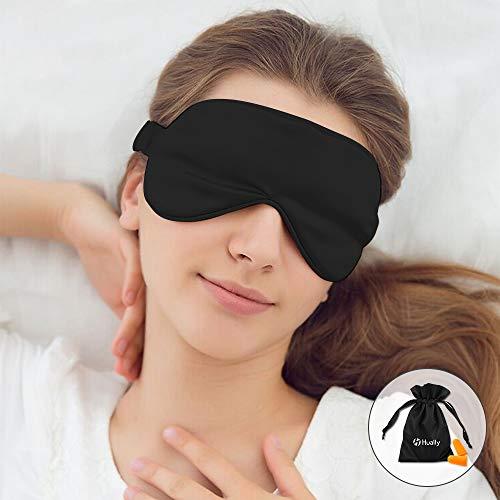 Hually Slaap Masker, 100% Zijde Slaap Masker Oogmasker Op maat gemaakt met Vriendelijke Pure Natuurlijke Zijde Stof en Zijde Katoen Gevuld, Slapend Oog Masker met Verstelbare Band voor Mannen, Vrouwen en Kinderen